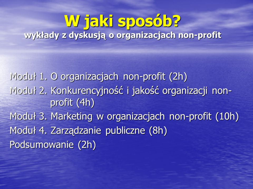 W jaki sposób wykłady z dyskusją o organizacjach non-profit