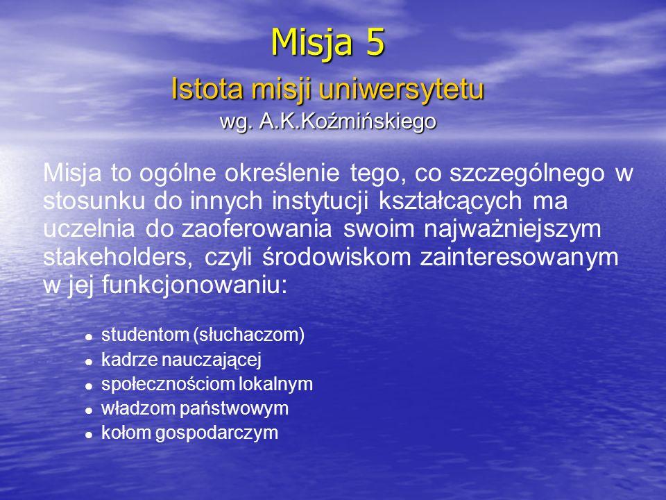 Istota misji uniwersytetu wg. A.K.Koźmińskiego