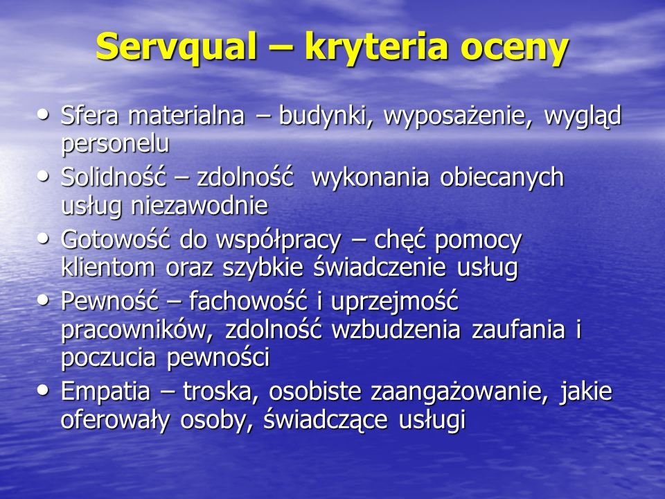 Servqual – kryteria oceny