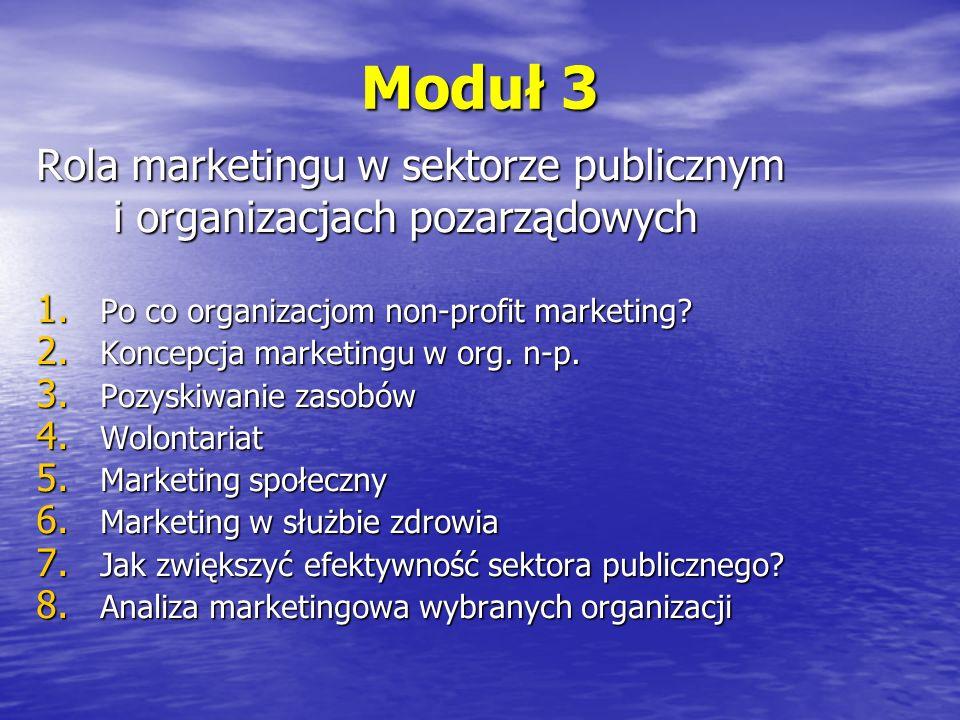 Moduł 3 Rola marketingu w sektorze publicznym i organizacjach pozarządowych. Po co organizacjom non-profit marketing