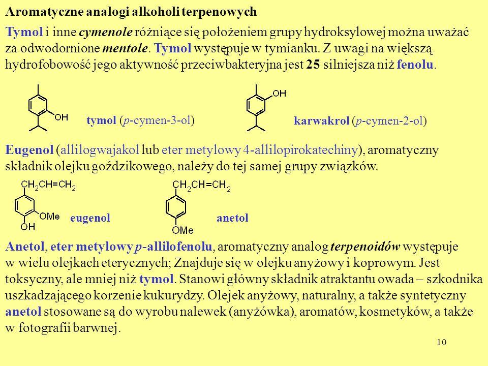Aromatyczne analogi alkoholi terpenowych
