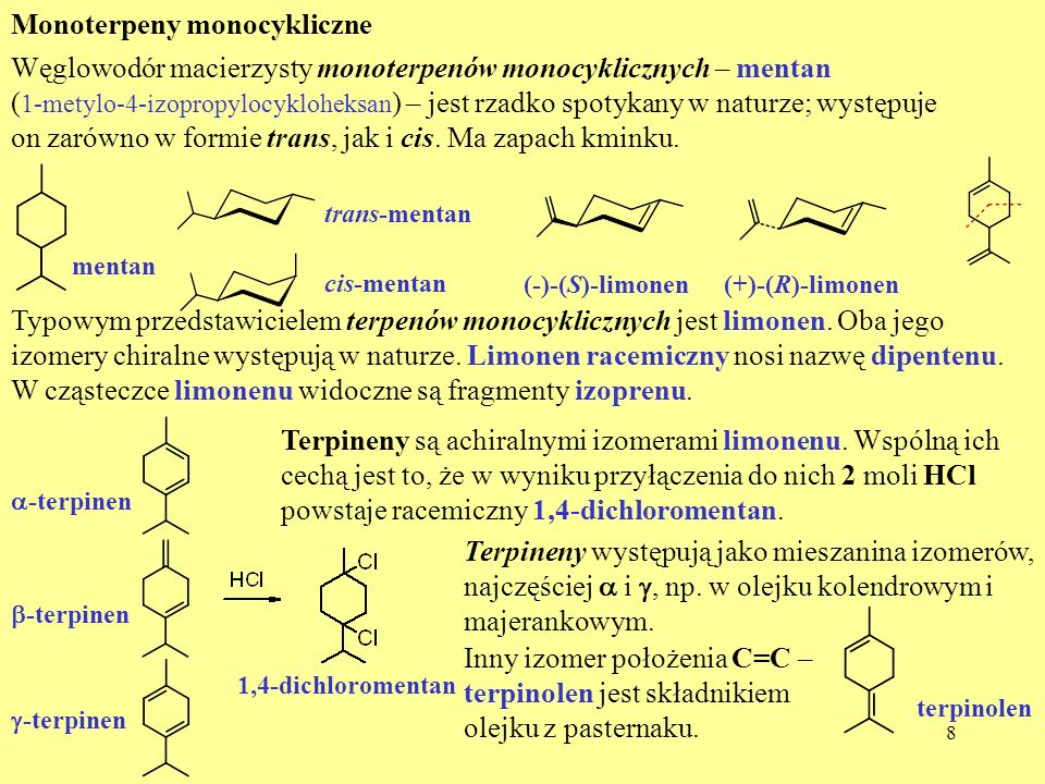 Monoterpeny monocykliczne