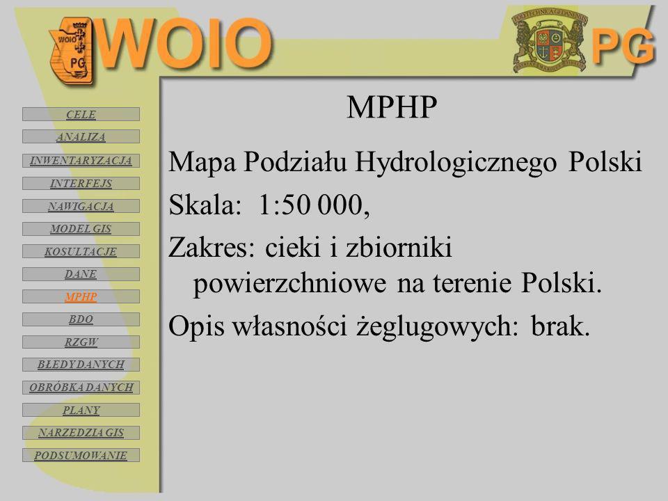 MPHP Mapa Podziału Hydrologicznego Polski Skala: 1:50 000,