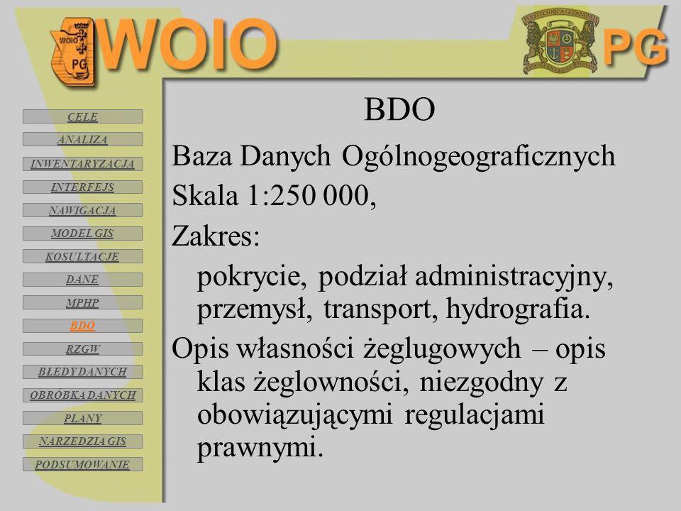 BDO Baza Danych Ogólnogeograficznych Skala 1:250 000, Zakres: