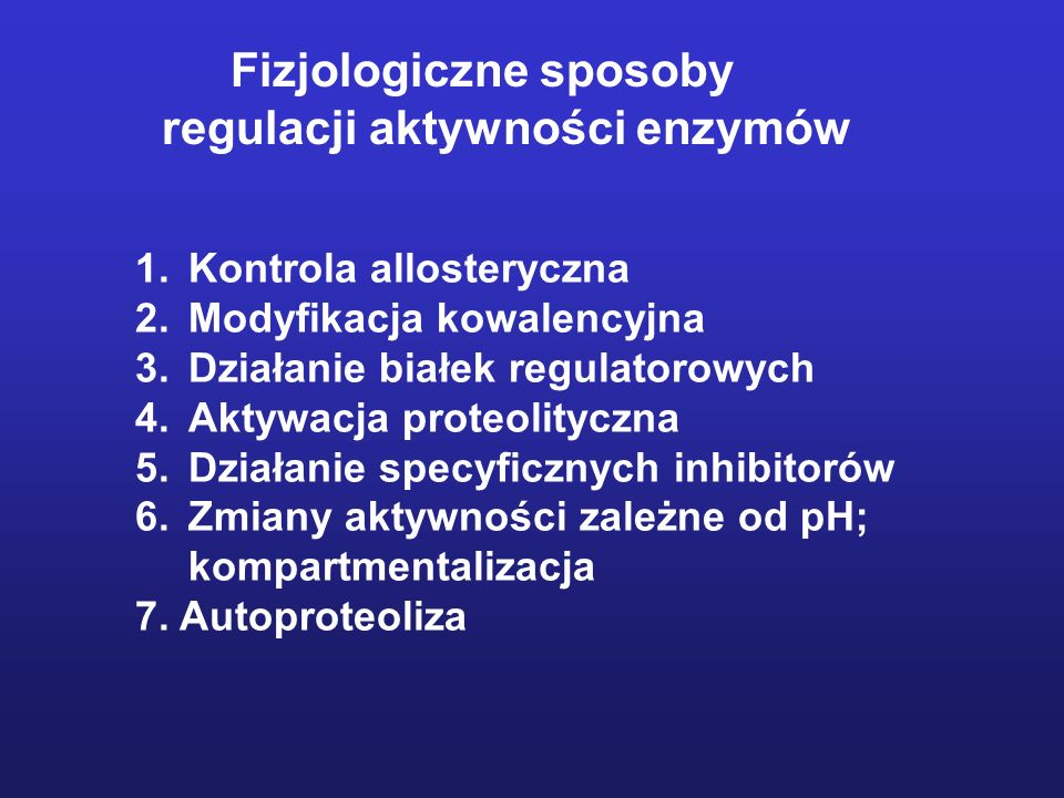 regulacji aktywności enzymów