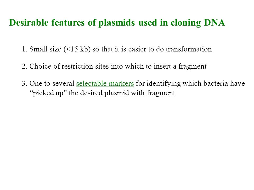 Desirable features of plasmids used in cloning DNA