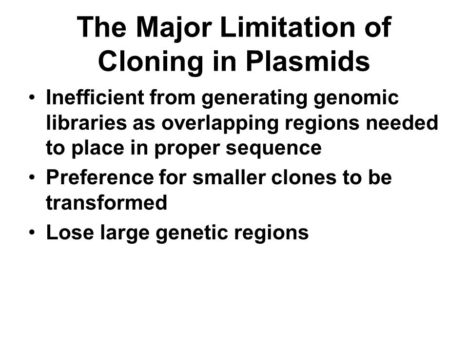 The Major Limitation of Cloning in Plasmids