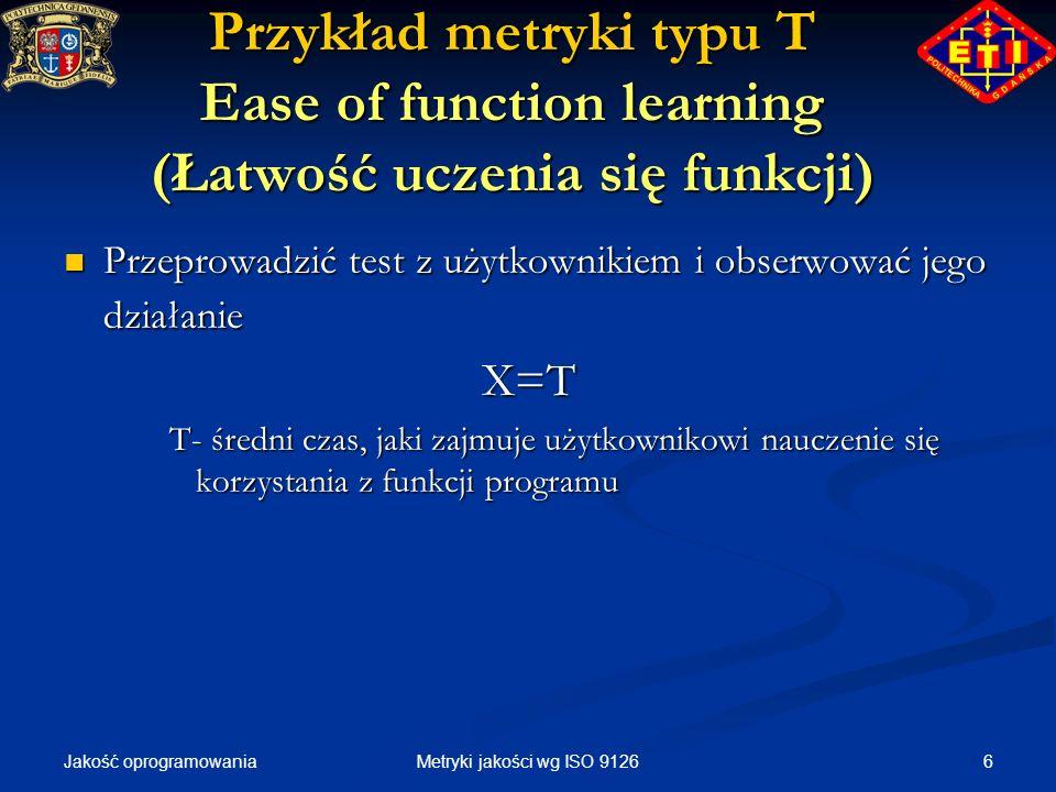 Przykład metryki typu T Ease of function learning (Łatwość uczenia się funkcji)