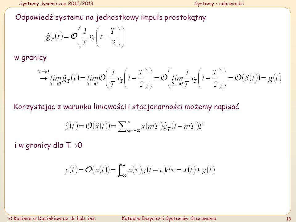 Odpowiedź systemu na jednostkowy impuls prostokątny