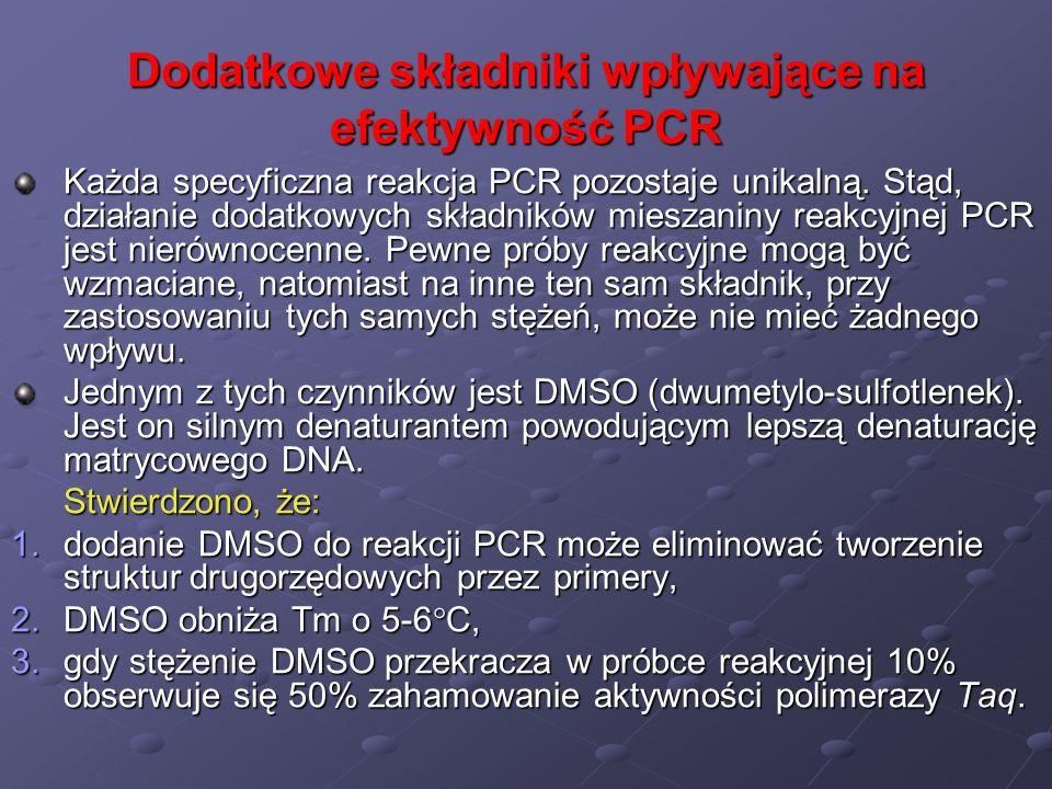 Dodatkowe składniki wpływające na efektywność PCR