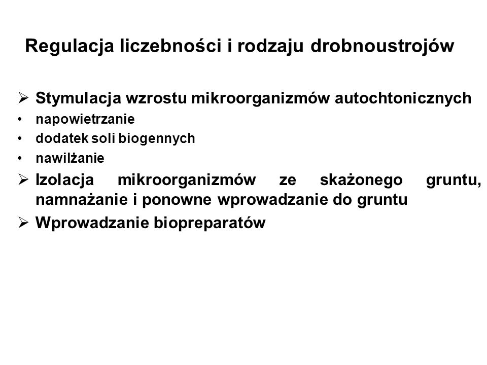 Regulacja liczebności i rodzaju drobnoustrojów