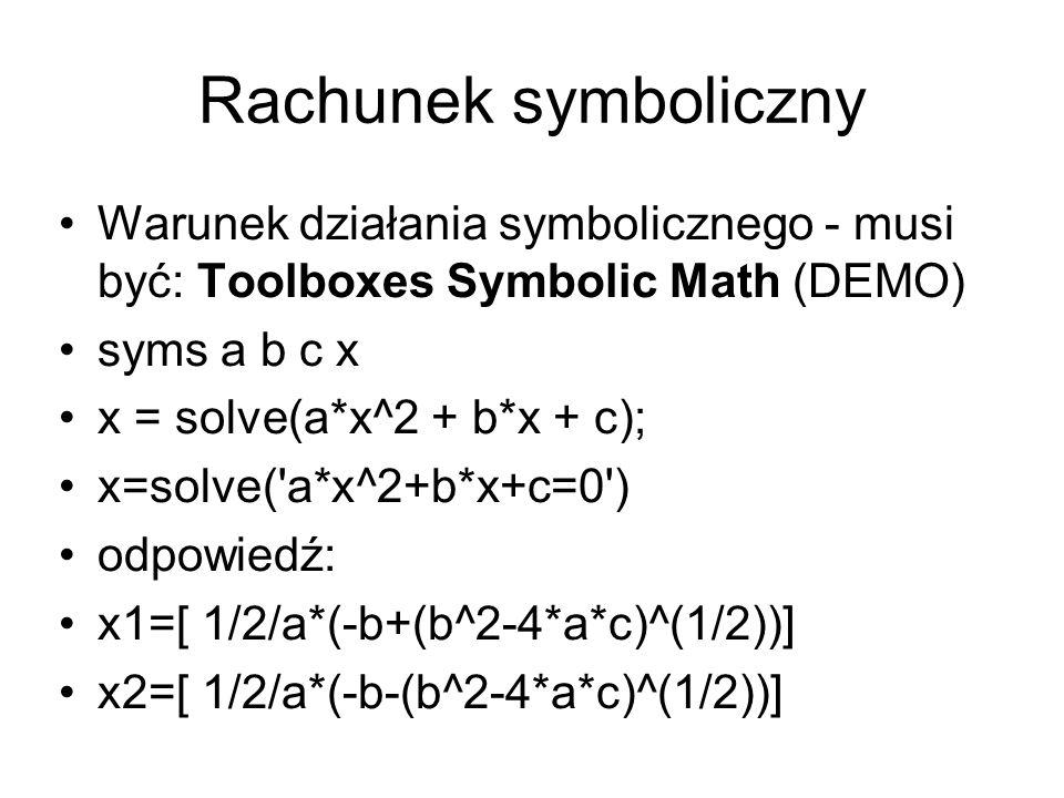 Rachunek symboliczny Warunek działania symbolicznego - musi być: Toolboxes Symbolic Math (DEMO) syms a b c x.