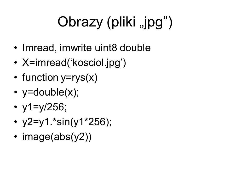 "Obrazy (pliki ""jpg ) Imread, imwrite uint8 double"
