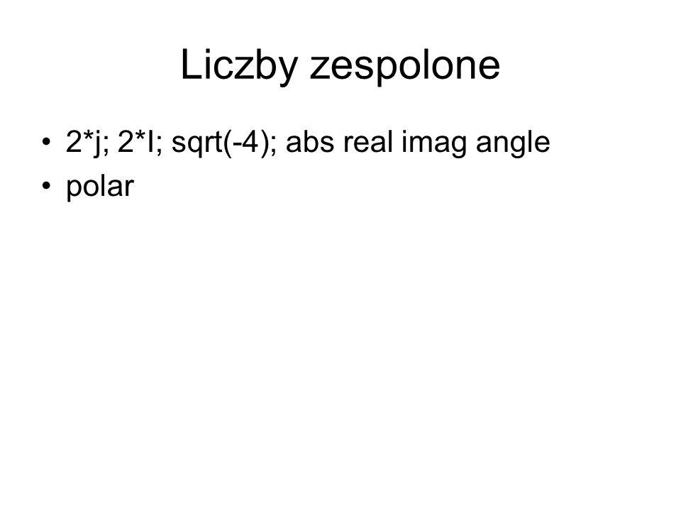 Liczby zespolone 2*j; 2*I; sqrt(-4); abs real imag angle polar