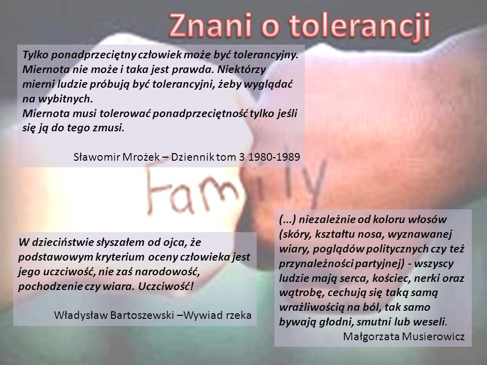 Znani o tolerancji