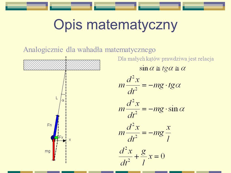 Opis matematyczny Analogicznie dla wahadła matematycznego
