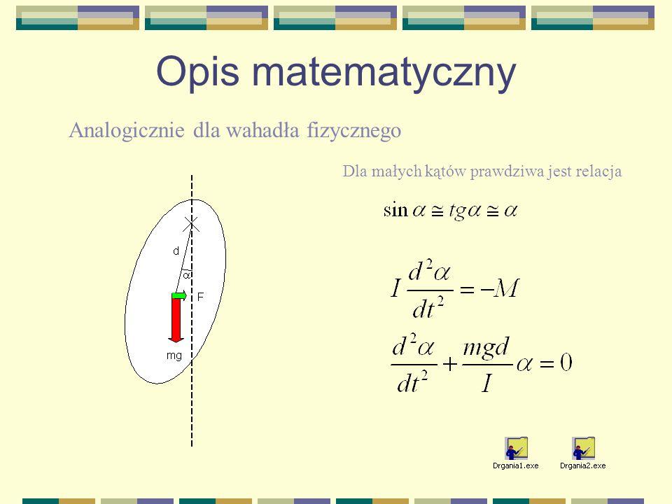 Opis matematyczny Analogicznie dla wahadła fizycznego