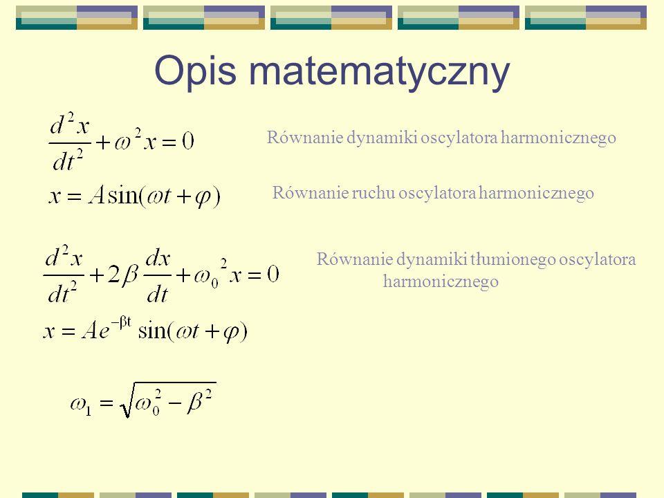 Opis matematyczny Równanie dynamiki oscylatora harmonicznego