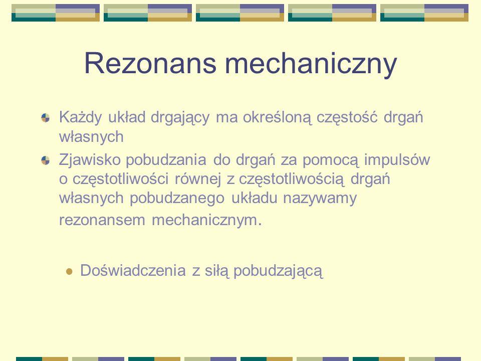 Rezonans mechanicznyKażdy układ drgający ma określoną częstość drgań własnych.