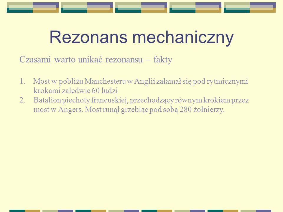 Rezonans mechaniczny Czasami warto unikać rezonansu – fakty
