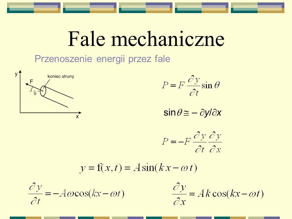 Fale mechaniczne Przenoszenie energii przez fale sinq  – y/x
