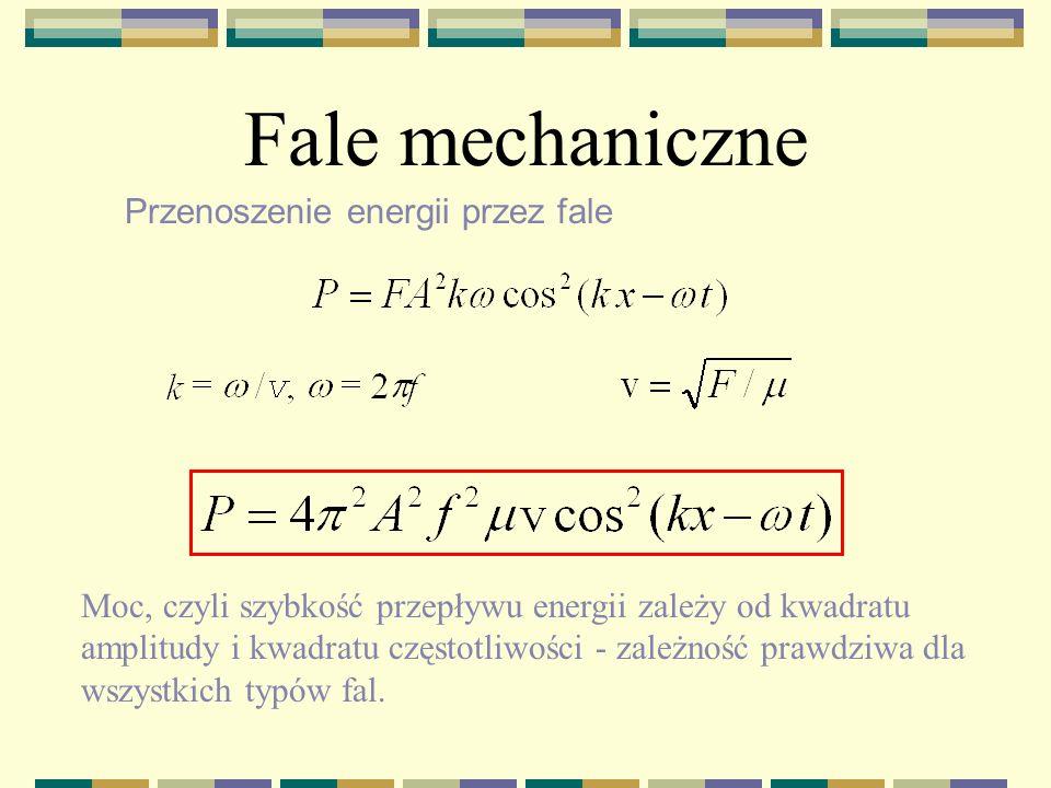 Fale mechaniczne Przenoszenie energii przez fale