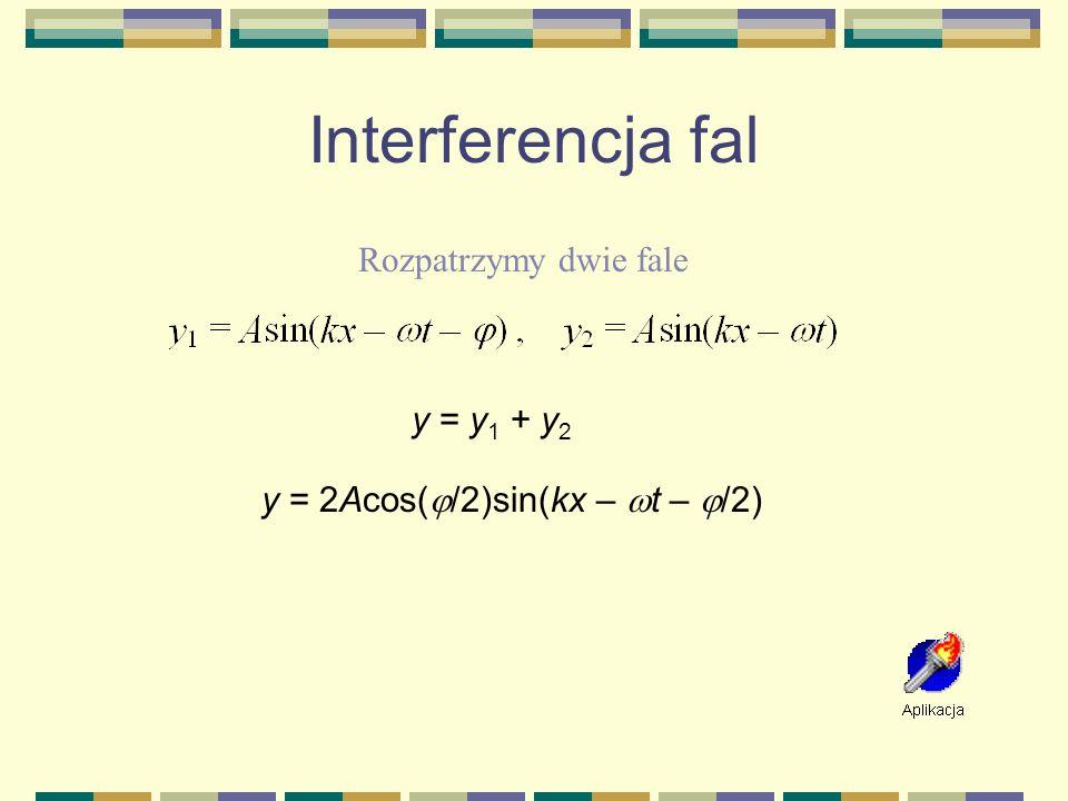 Interferencja fal Rozpatrzymy dwie fale y = y1 + y2
