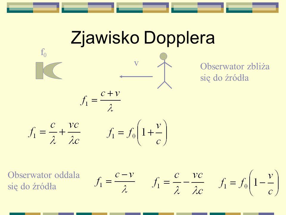 Zjawisko Dopplera f0 v Obserwator zbliża się do źródła
