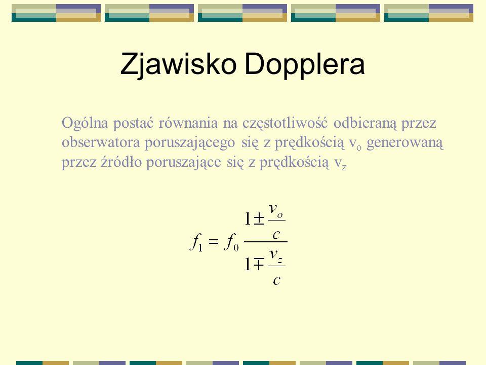 Zjawisko Dopplera Ogólna postać równania na częstotliwość odbieraną przez. obserwatora poruszającego się z prędkością vo generowaną.