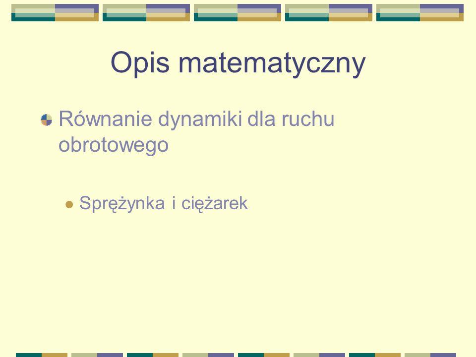 Opis matematyczny Równanie dynamiki dla ruchu obrotowego
