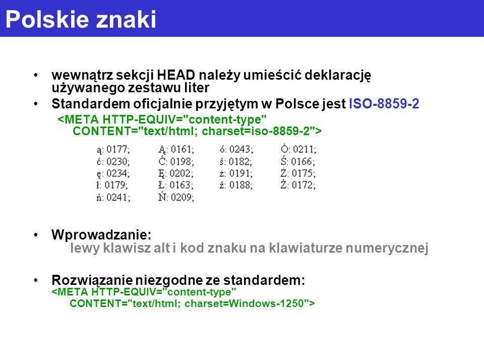 Polskie znaki wewnątrz sekcji HEAD należy umieścić deklarację używanego zestawu liter. Standardem oficjalnie przyjętym w Polsce jest ISO-8859-2.