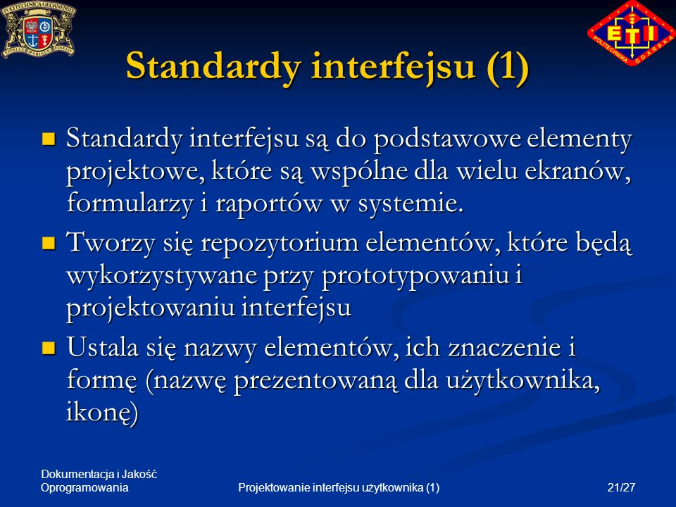 Standardy interfejsu (1)