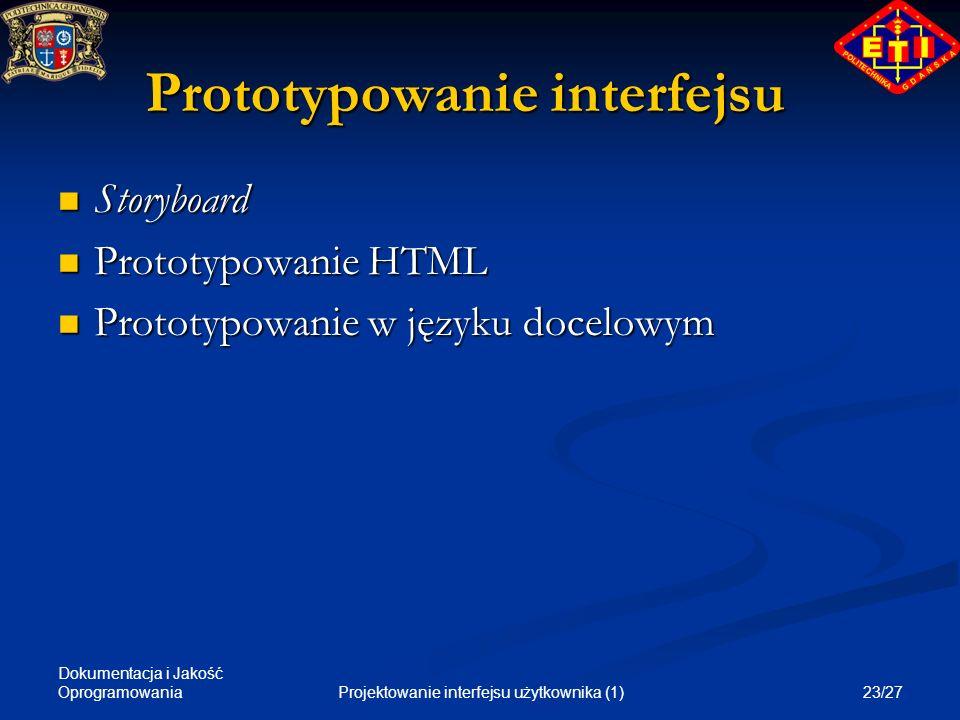 Prototypowanie interfejsu