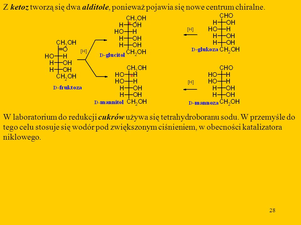 Z ketoz tworzą się dwa alditole, ponieważ pojawia się nowe centrum chiralne.
