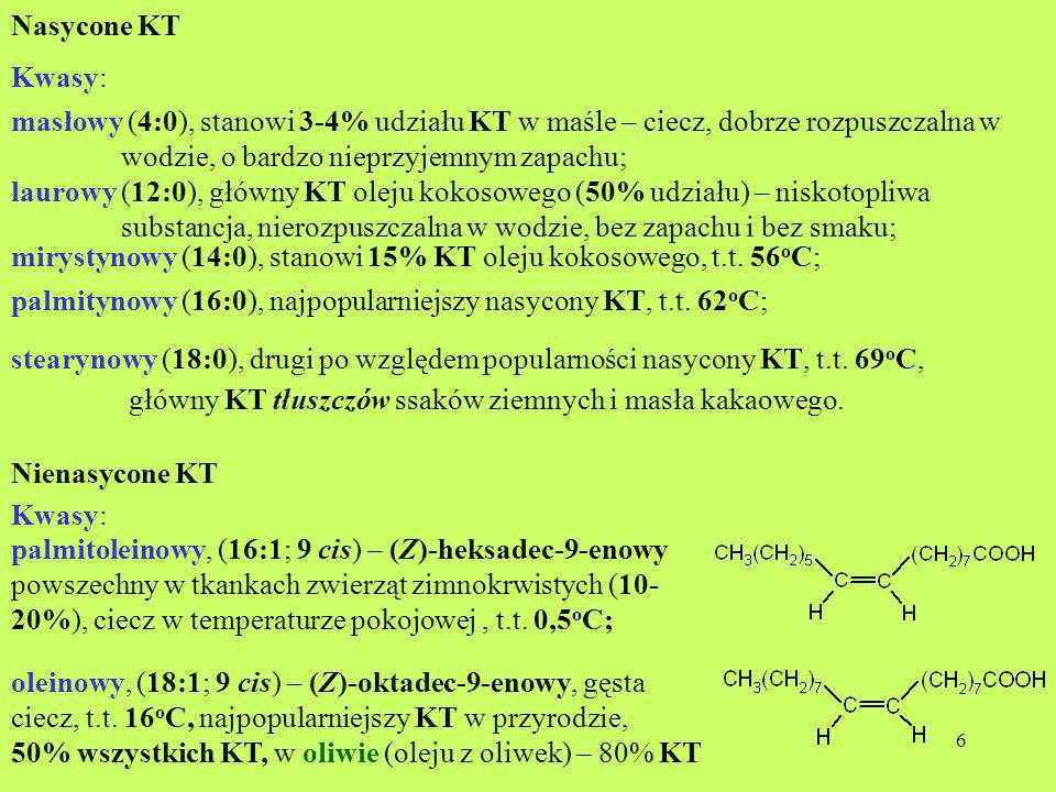 Nasycone KT Kwasy: masłowy (4:0), stanowi 3-4% udziału KT w maśle – ciecz, dobrze rozpuszczalna w.