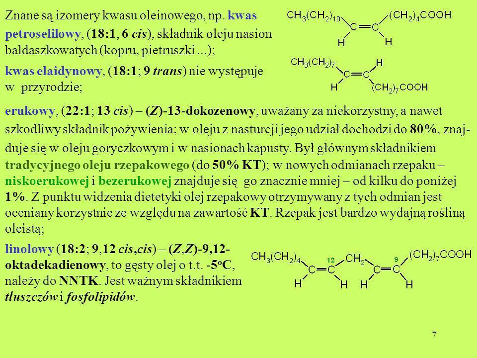 Znane są izomery kwasu oleinowego, np