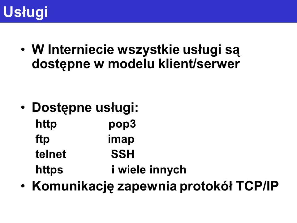 Usługi W Interniecie wszystkie usługi są dostępne w modelu klient/serwer. Dostępne usługi: http pop3.