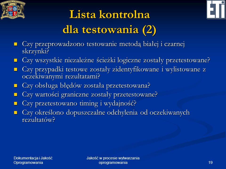 Lista kontrolna dla testowania (2)