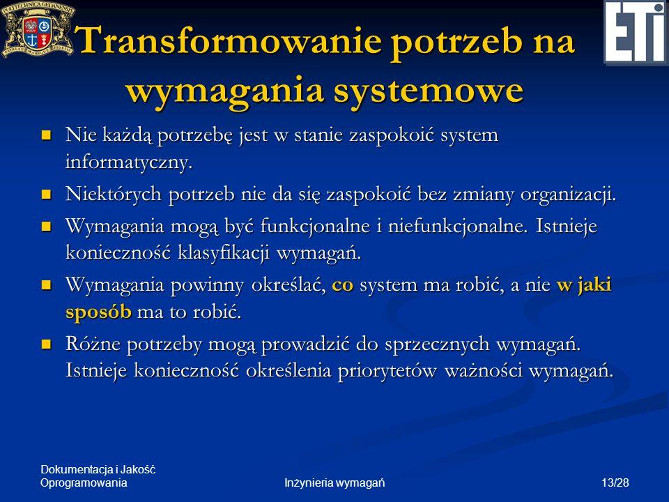 Transformowanie potrzeb na wymagania systemowe