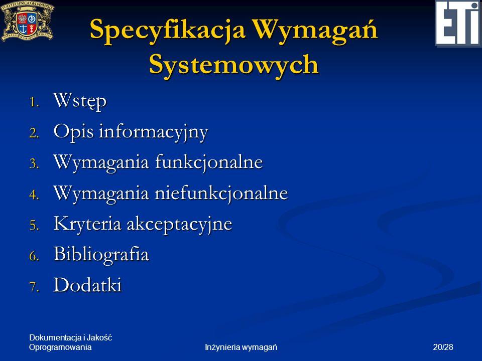 Specyfikacja Wymagań Systemowych