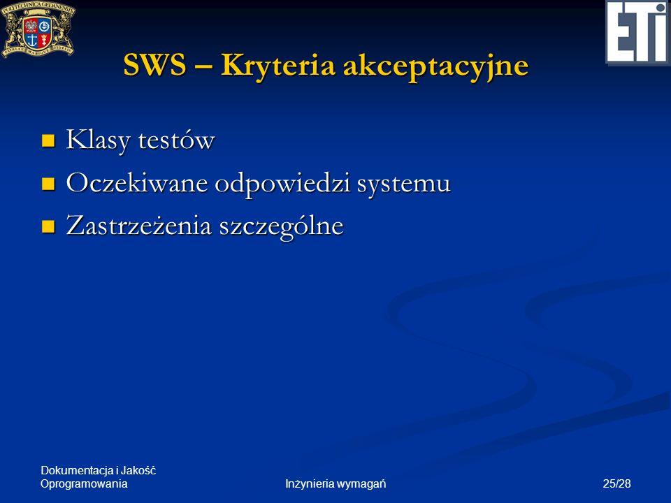 SWS – Kryteria akceptacyjne
