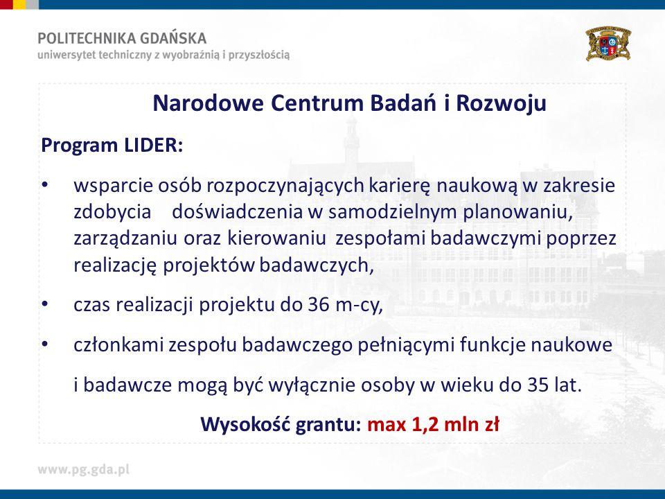 Narodowe Centrum Badań i Rozwoju Wysokość grantu: max 1,2 mln zł