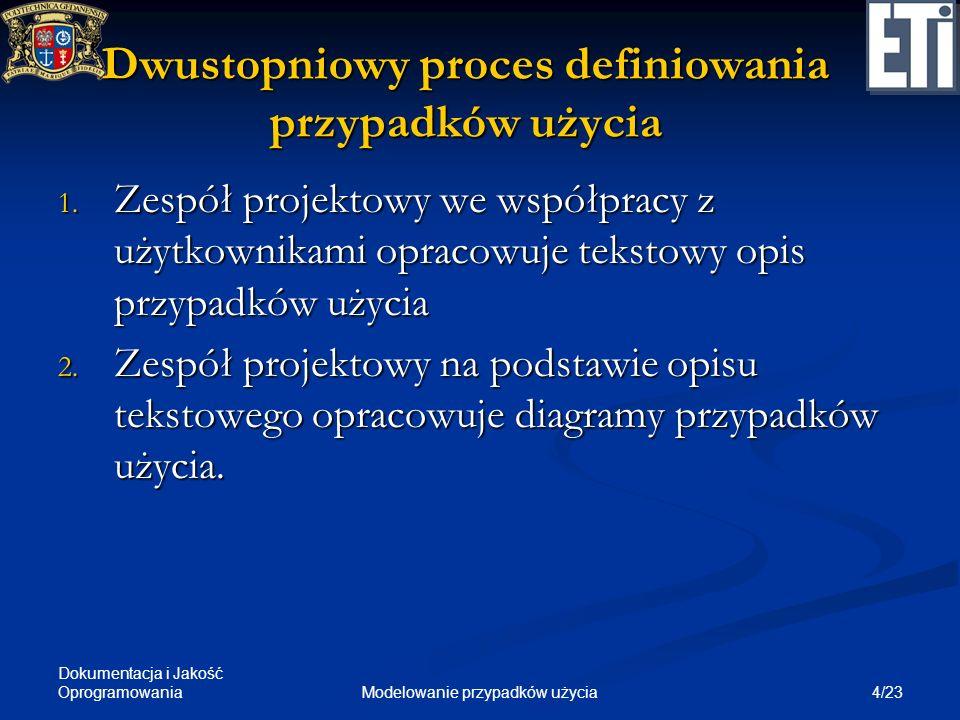 Dwustopniowy proces definiowania przypadków użycia