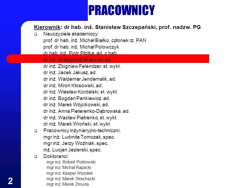 PRACOWNICYKierownik: dr hab. inż. Stanisław Szczepański, prof. nadzw. PG. Nauczyciele akademiccy: prof. dr hab. inż. Michał Białko, członek rz. PAN.