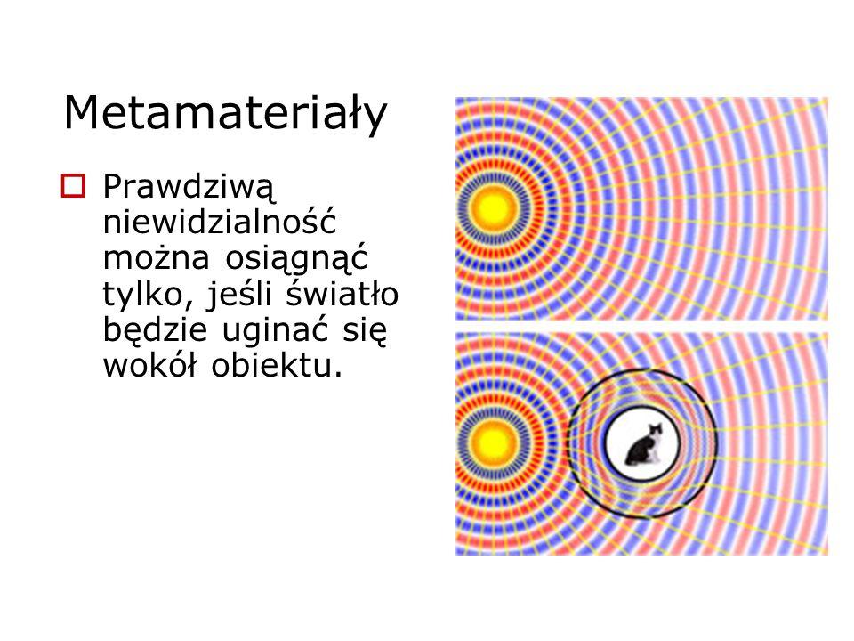 Metamateriały Prawdziwą niewidzialność można osiągnąć tylko, jeśli światło będzie uginać się wokół obiektu.