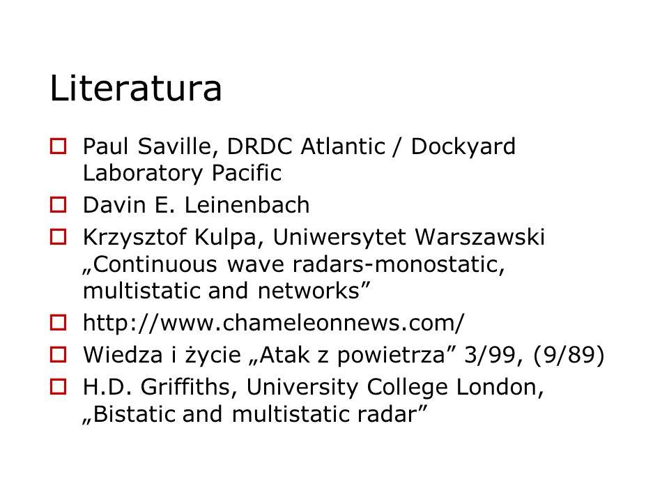 Literatura Paul Saville, DRDC Atlantic / Dockyard Laboratory Pacific