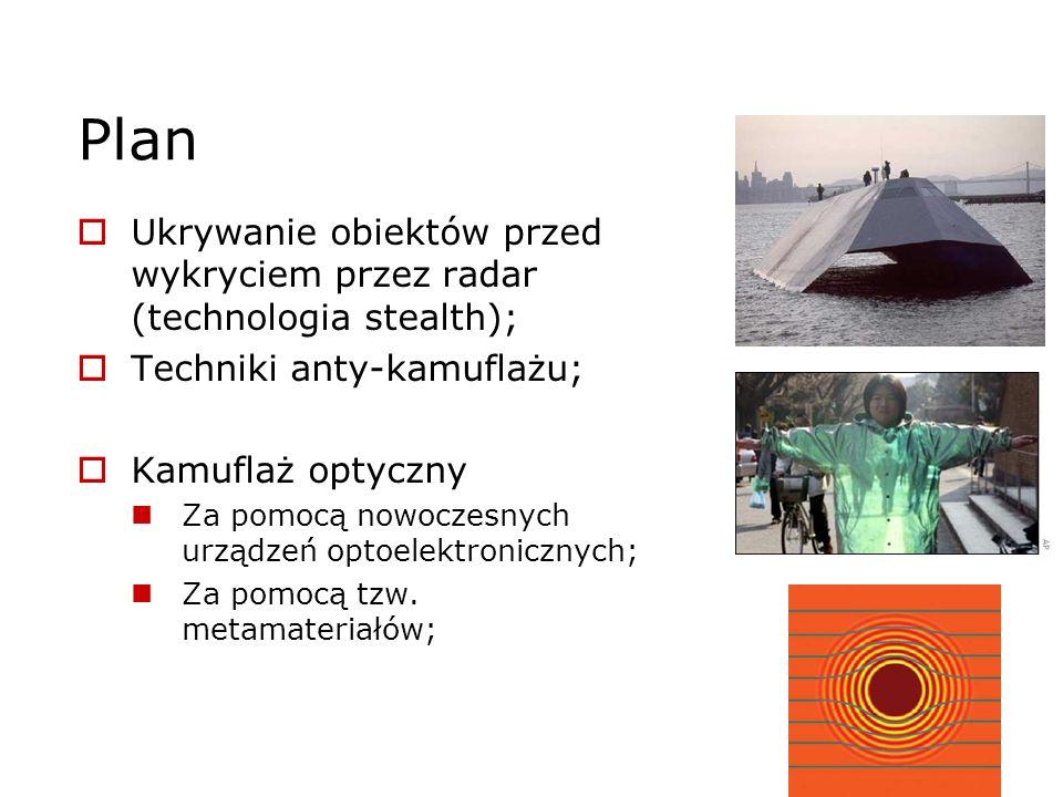 Plan Ukrywanie obiektów przed wykryciem przez radar (technologia stealth); Techniki anty-kamuflażu;