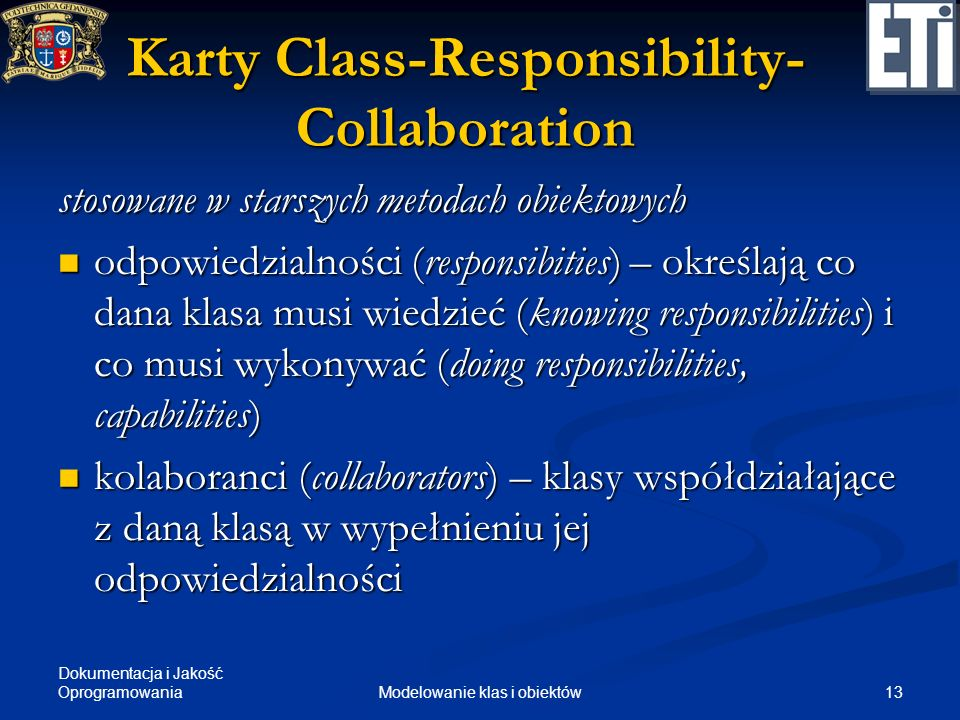 Karty Class-Responsibility-Collaboration