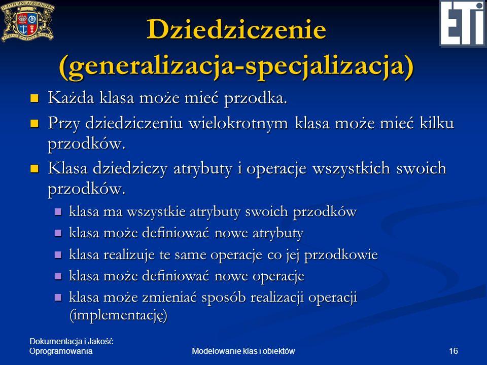 Dziedziczenie (generalizacja-specjalizacja)