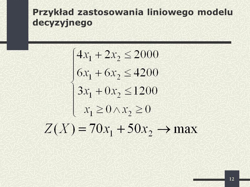 Przykład zastosowania liniowego modelu decyzyjnego